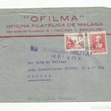 Sellos: CIRCULADA 1938 DE MALAGA A BURGOS CON CENSURA MILITAR Y SELLO LOCAL VER FOTO . Lote 135415230