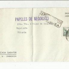 Sellos: TARJETA CIRCULADA 1938 DE ZARAGOZA A VITORIA CON CENSURA MILITAR. Lote 135416694