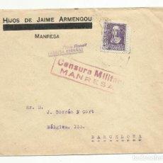 Sellos: CIRCULADA 1938 DE MANRESA BARCELONA CON CENSURA MILITAR. Lote 135436606