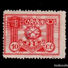 Sellos: GUERRA CIVIL GG-2112 GUERRA CIVIL PRO HUERFANOS DE CARABINEROS 10 CTS ROJO PAPEL GRIS NUEVO, CON P. Lote 135530850