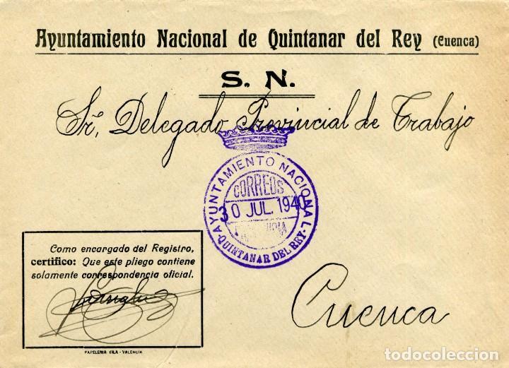 ESPAÑA. GUERRA CIVIL. POSGUERRA. CUENCA. QUINTANAR DEL REY A CUENCA 1940.FRANQUICIA DEL AYUNTAMIENTO (Sellos - España - Guerra Civil - De 1.936 a 1.939 - Cartas)