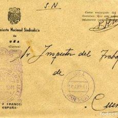 Sellos: ESPAÑA. GUERRA CIVIL. POSGUERRA. CUENCA. SOBRE DE UÑA A CUENCA 1941. FRANQUICIA DEL AYUNTAMIENTO.. Lote 135789182