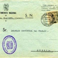 Sellos: ESPAÑA. G. CIVIL. POSGUERRA. CUENCA. SACEDA TRASIERRA A CUENCA 1941. MARCA DEL AYUNTAMIENTO.. Lote 135789962