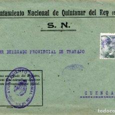 Sellos: ESPAÑA. GUERRA CIVIL. POSGUERRA. CUENCA. QUINTANAR DEL REY A CUENCA 1941. FRANQUICIA DEL AYUNTAM.. Lote 135790542
