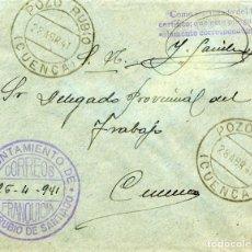 Sellos: ESPAÑA. GUERRA CIVIL. POSGUERRA. CUENCA. SOBRE DE POZO RUBIO A CUENCA 1941. FRANQUICIA DEL AYUNTAM.. Lote 135790590