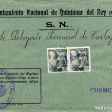 Sellos: ESPAÑA. GUERRA CIVIL. POSGUERRA. CUENCA. QUINTANAR DEL REY A CUENCA 1941. MARCA DEL AYUNTAMIENTO. Lote 135790662