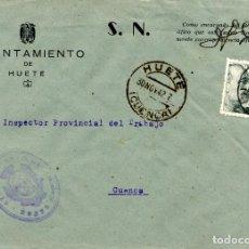 Sellos: ESPAÑA. GUERRA CIVIL. POSGUERRA. CUENCA. SOBRE DE EL HUETE A CUENCA 1942. MARCA DEL AYUNTAMIENTO. Lote 135791002