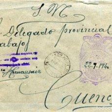 Sellos: ESPAÑA. GUERRA CIVIL. POSGUERRA. CUENCA. SOBRE DE MONTALBANEJO A CUENCA 1940. FRANQUICIA DEL AYUNTAM. Lote 135791130