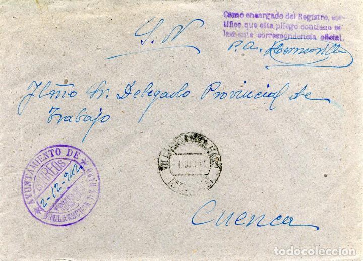 ESPAÑA. GUERRA CIVIL. POSGUERRA. CUENCA. VILLAESCUSA DE HARO A CUENCA 1942. FRANQUICIA DEL AYUNTAM (Sellos - España - Guerra Civil - De 1.936 a 1.939 - Cartas)