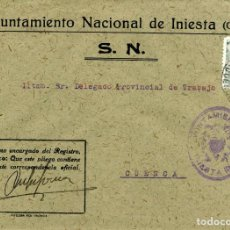 Sellos: ESPAÑA. GUERRA CIVIL. POSGUERRA. CUENCA. SOBRE DE INIESTA A CUENCA 1942. MARCA DEL AYUNTAMIENTO. Lote 135791410