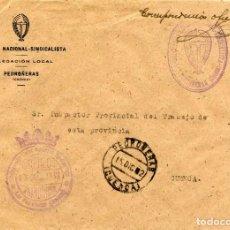 Sellos: ESPAÑA. GUERRA CIVIL. POSGUERRA. CUENCA. SOBRE DE PEDROÑERAS A CUENCA 1942. FRANQUICIA DEL AYUNTAM.. Lote 135791502