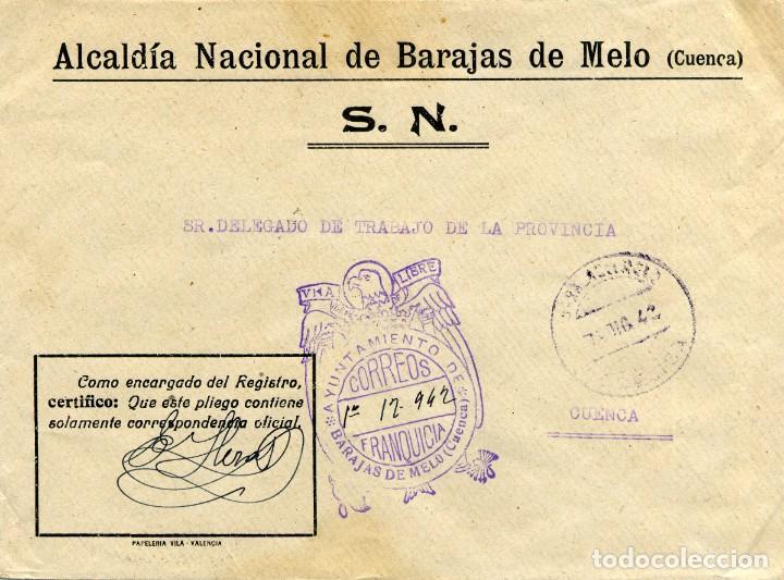 ESPAÑA. GUERRA CIVIL. POSGUERRA. CUENCA. BARAJAS DE MELO A CUENCA 1942. FRANQUICIA DEL AYUNTAMIENTO. (Sellos - España - Guerra Civil - De 1.936 a 1.939 - Cartas)