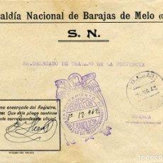 Sellos: ESPAÑA. GUERRA CIVIL. POSGUERRA. CUENCA. BARAJAS DE MELO A CUENCA 1942. FRANQUICIA DEL AYUNTAMIENTO.. Lote 135791614
