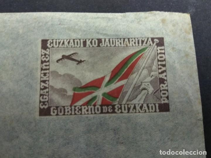 SOBRE CON AEROGRAMA GOBIERNO DE EUZKADI JAURLARITZA ORIGINAL PAIS VASCO (Sellos - España - Guerra Civil - De 1.936 a 1.939 - Cartas)
