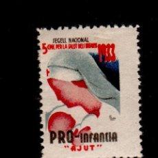 Sellos: GUERRA CIVIL GG-2282 PRO INFANCIA CON PUBLICIDAD ROCALLA BARCELONA. CON FIJASELLOS. NO CATALOGADO.. Lote 135817878