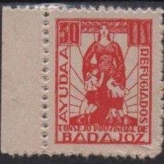 Sellos: BADAJOZ, AYUDA A REFUGIADOS, 5 , 10 Y 50 CTS, VER FOTO. Lote 136174678