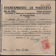 Sellos: MARCHENA--SEVILLA,TASAS Y DERECHOS, SELLO BENEFICO,. VER FOTO. Lote 136240550