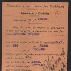 Sellos: POSTAL FERROCARRILES ANDALUCES, MOD. 283 - 15,000 EJEMPS, 10-34, CIRCULADA A CADIZ, VER FOTOS. Lote 136342010