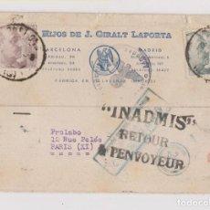 Sellos: TARJETA PUBLICITARIA DE BARCELONA A PARÍS. DEVUELTA AL DESTINATARIO. CENSURA MILITAR. RARA. 1940. Lote 136669782