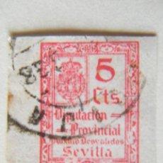 Sellos: SELLO LOCAL DE SEVILLA, DIPUTACION PROVINCIAL. AUXILID GUERRA CIVIL TIPO B834 5 CENT. . NO EN CAT. G. Lote 136703605