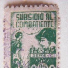 Sellos: SELLO LOCAL DE SANTANDER, SUBSIDIO AL COMBATIENTE. 25 CTS. ORD: 2299. Lote 136703617