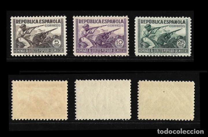 Sellos: Sellos. España. II República 1938. Homenaje al Ejército Popular. Nuevo Lujo. Edif,792-800 - Foto 2 - 136717138
