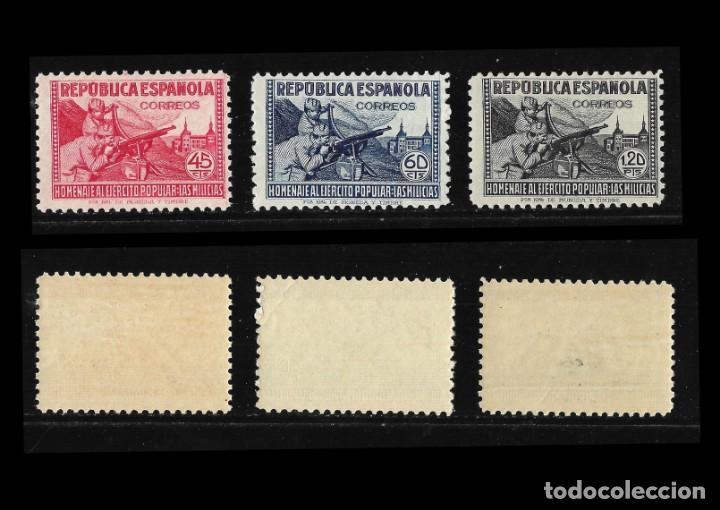 Sellos: Sellos. España. II República 1938. Homenaje al Ejército Popular. Nuevo Lujo. Edif,792-800 - Foto 3 - 136717138