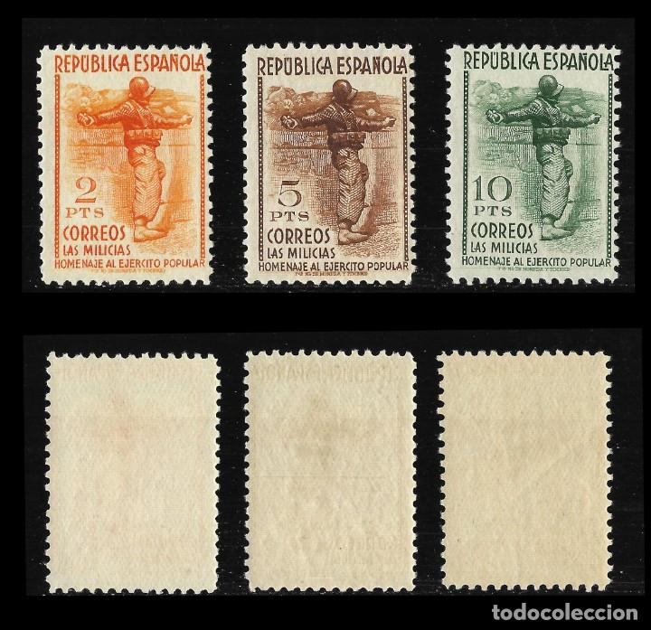 Sellos: Sellos. España. II República 1938. Homenaje al Ejército Popular. Nuevo Lujo. Edif,792-800 - Foto 4 - 136717138