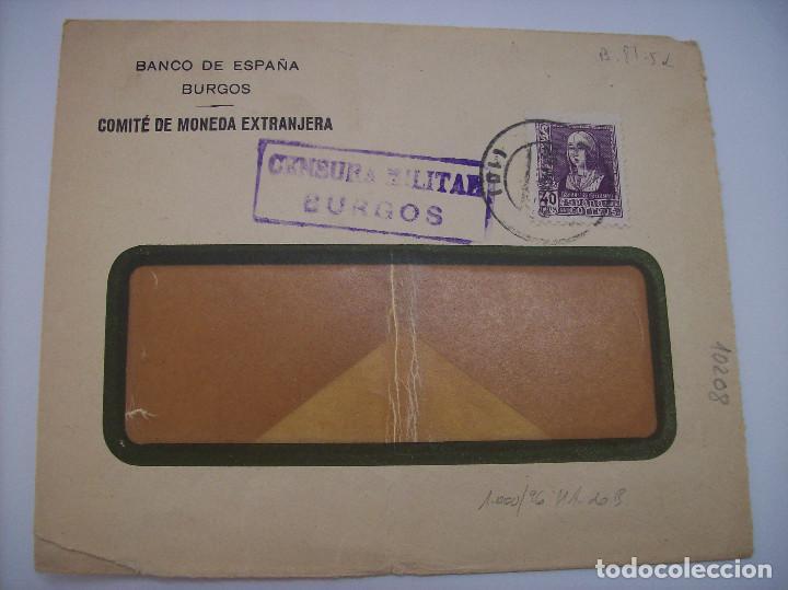 BANCO DE ESPAÑA COMITE DE MONEDA EXTRANJERA BURGOS (Sellos - España - Guerra Civil - De 1.936 a 1.939 - Cartas)