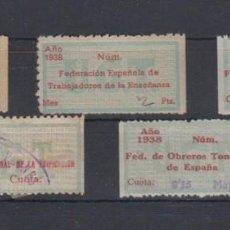 Sellos: UGT. LOTE DE 5 VIÑETAS REPUBLICANAS. Lote 137301870