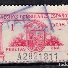 Sellos: DERECHOS CONSULARES ESPAÑOLES 1 PTAS. Lote 137358146
