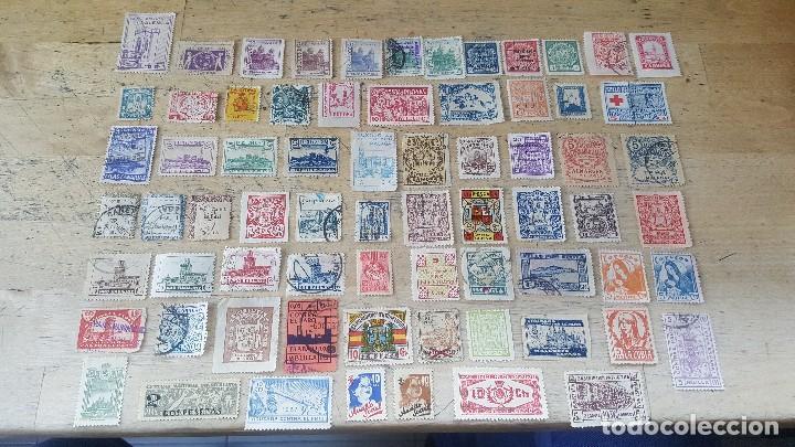 Sellos: 140 sellos viñeta de beneficencia, pro municipios, paro, contra el frio, subsidio, falange, etc - Foto 11 - 137382562