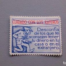 Sellos: ESPAÑA-1936 - VIÑETA - PUBLICITARIA - RARA - CUIDADO CON LOS RATEROS - MNG - NUEVA.. Lote 137435542