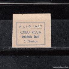Sellos: ALIÓ 1937. CREU ROJA. ASISTENCIA SOCIAL. 5 CTS.. Lote 137445978