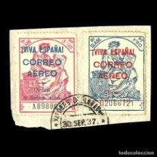 Sellos: POLIZA.SELLO FISCAL.3 P.Y 1,50 SOBRE FRAGMENTO.SOBRECARGA CORREO AÉREO MATASELLO DE 30-S-1937. Lote 137561250