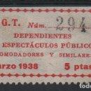 Sellos: U.G.T. 5 PTAS, --DEPENDIENTE DE ESPECTACULOS...-- MARZO 1938, VER FOTO. Lote 137776429