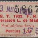 Sellos: MADRID, U.G.T. 1,75 SOBRE 1,25 PTA,FED. L. -EMBALDOSSADORES- VER FOTOS. Lote 137777754