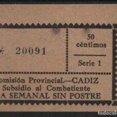 Sellos: CADIZ, 50 CTS, -SUBSIDIO AL COMBATIENTE- ALLEPUZ Nº 216. VER FOTO. Lote 137793434