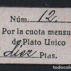 Sellos: CUOTA MENSUAL-PLATO UNICO- 10 PTAS, REVERSO- ABRIL 1940, VER FOTOS. Lote 137793542
