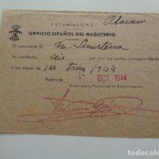 Sellos: VALENCIA. SERVICIO NACIONAL DEL MAGISTERIO. CUOTA MENSUAL CAMARADA. 1944.. Lote 138018778