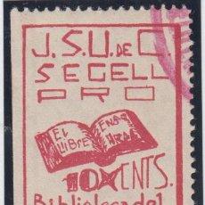 Sellos: GUERRA CIVIL, VIÑETAS, J.S.U. PRO BIBLIOTECA DEL RADI. . Lote 138285326