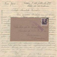 Sellos: SOBRE CON CARTA. CENSURA MILITAR VALENCIA 1939. Lote 138665390