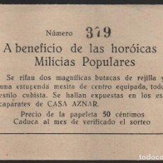 Sellos: A BENEFICIO DE LAS HOROICAS MILICIAS POPULARES, ERROR --HOROICAS- 50 CTS, CASA AZNAR- VER FOTO. Lote 139257930