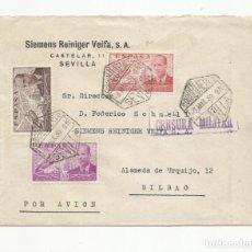Sellos: CIRCULADA 1939 DE SEVILLA A BILBAO CON CENSURA MILITAR Y SELLO LOCAL AL DORSO VER FOTO. Lote 139333098