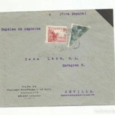 Sellos: CIRCULADA 1939 DE BELMEZ CORDOBA A SEVILLA CON CENSURA MILITAR. Lote 139337346
