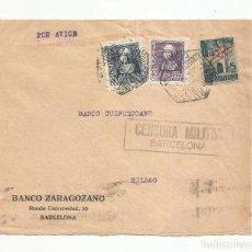 Sellos: FRONTAL CIRCULADA 1939 DE BANCO ZARAGOZANO A GUIPUZCOANO DE BILBAO CON CENSURA MILITAR. Lote 139339186