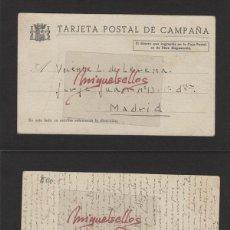 Selos: TARJETA POSTAL DE CAMPAÑA ORIGEN FRENTE DEL ESTE DEST MADRID FECHA MAY -1938. Lote 139339350