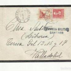 Sellos: FRONTAL CIRCULADA 1939 DE SANTIAGO A VALLADOLID CON CENSURA MILITAR. Lote 139339510