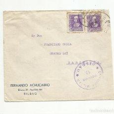 Sellos: CIRCULADA 1939 DE BILBAO A BARCELONA CON CENSURA MILITAR. Lote 139339814