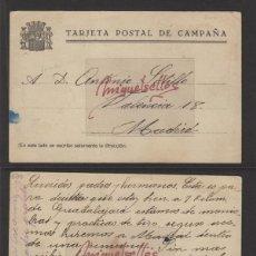 Sellos: TARJETA POSTAL DE CAMPAÑA DESTINO MADRID ORIGEN FRENTE GUADALAJARA. Lote 139342018